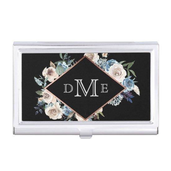 Elegant White Blue Roses Frame Triple Monogram Business Card Case