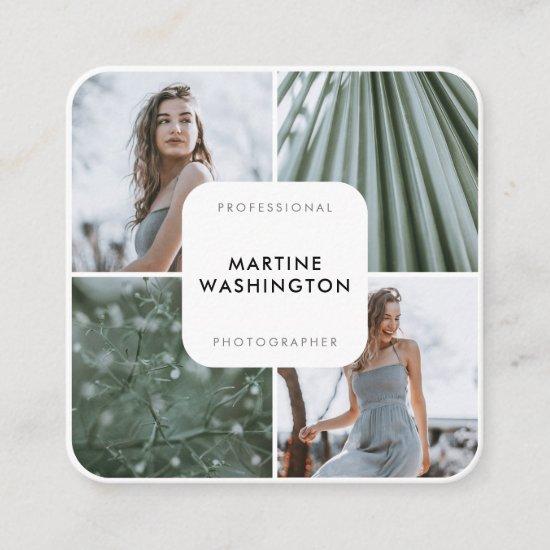 Elegant white border photographer modern minimal square business card