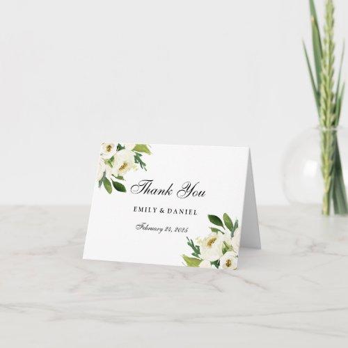 Elegant White Floral Green Leaf Thank You Card