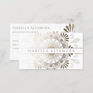 Elegant White & Gold Foil Mandala Business Cards
