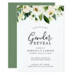 Elegant White Watercolor Floral Gender Reveal Invitation