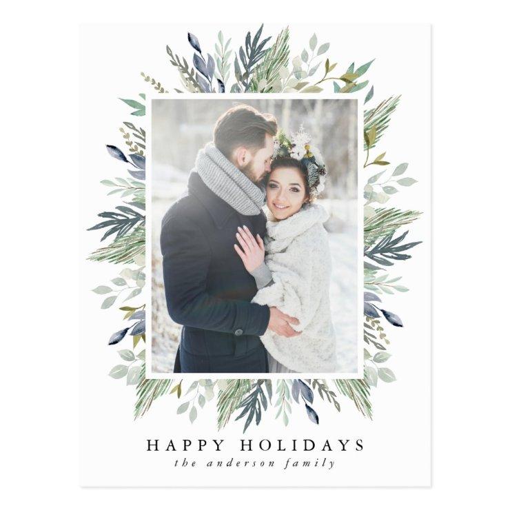 Elegant Winter Foliage Frame | Holiday Photo Postcard