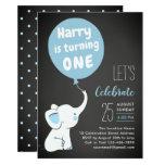 Elephant 1st Birthday Party Invitation for Boy