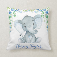 Elephant Baby Boy Nursery Pastel Blue Flowers Throw Pillow