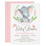 Elephant Baby Shower, Girl Invitation