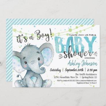 Elephant Baby Shower invitation, Boy Invitation