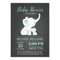Elephant Baby Shower Invitation for Boy