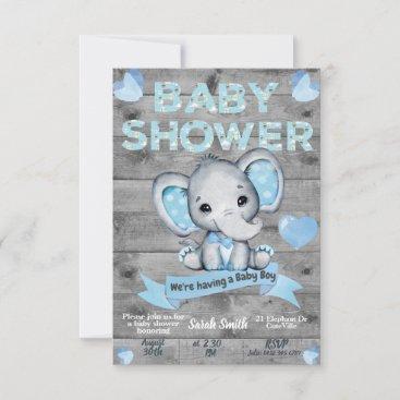 Elephant Baby Shower Invitation for boys Editable
