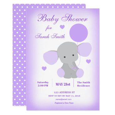 Elephant Baby Shower Invitation Purple Girl