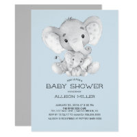 Elephant Boys baby Shower Invitation