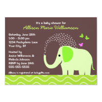 Elephant & Butterflies Baby Shower Card