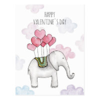 Elephant classroom valentine. Cartoon animal. Kids Postcard