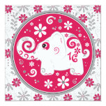 ❤️ Elephant Floral Red Sweet 16 Birthday Invitation