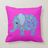 Elephant flowers cute animal girl nursery room throw pillow