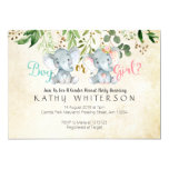 Elephant gender reveal Invitation Greneery