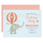 Elephant Hot Air Balloon Birthday Invitation