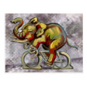 Elephant on a bicyle post cards