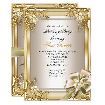 Elite Elegant Birthday Party Gold Cream Bow L Card