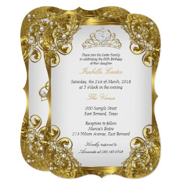 Elite Golden White Pearl Lace Tiara Birthday Party Card