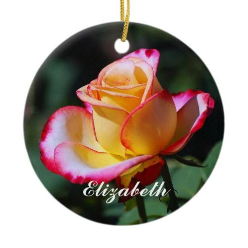 Elizabeth Red and Yellow and Pink Roses Ornament ornament