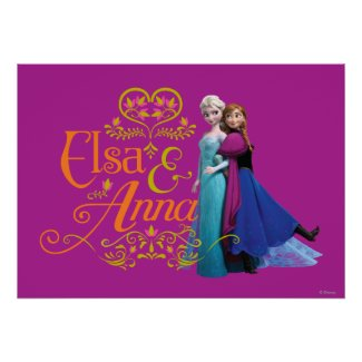 Elsa and Anna Standing Back to Back Poster