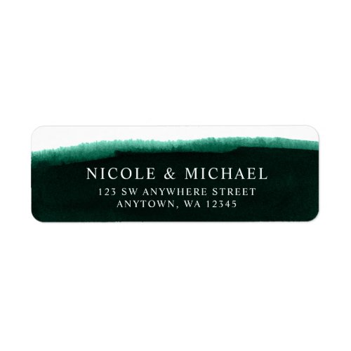 Emerald Green Watercolor Return Address Label