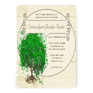 Emerald Heart Leaf Tree Barn Wood Wedding
