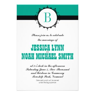 Emerald Monogram Wedding Invite or any color