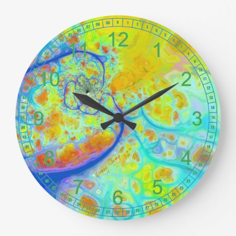 Emerging Galaxies Abstract Fractal Teal Lime Flow Large Clock
