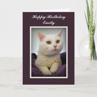 Emily Happy Birthday White Cat Card