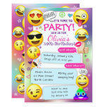 ❤️ Emoji Birthday Party Invitations, Girl Emoji Party Invitation