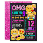 ❤️ Emoji Pink Glitter Birthday Invitation