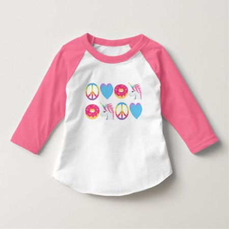 Emoji Shirt - Peace, Love, Unicorn, and Donut