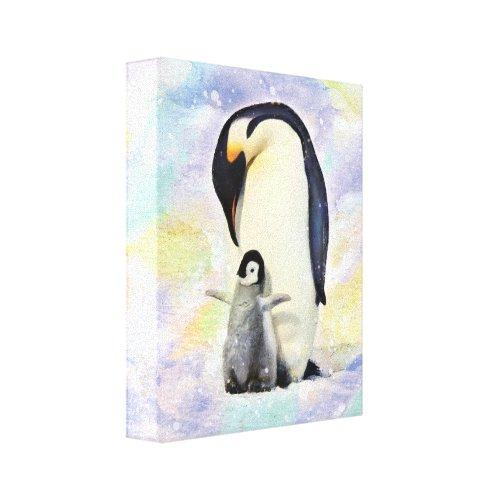 Emperor Penguin with Baby Chick Watercolor Canvas Print