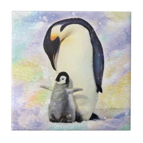 Emperor Penguin with Baby Chick Watercolor Ceramic Tile