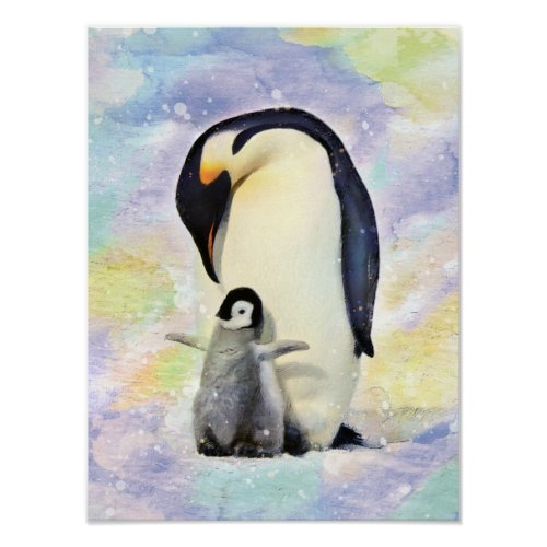 Emperor Penguin with Baby Chick Watercolor Poster