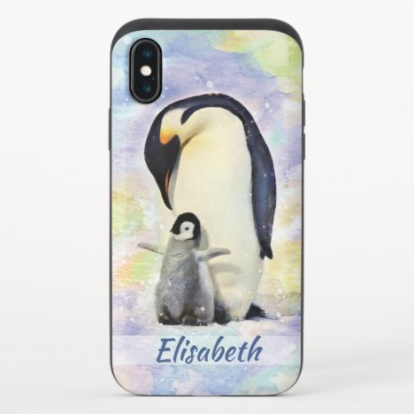 Emperor Penguin with Baby Chick Watercolor iPhone X Slider Case