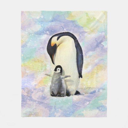 Emperor Penguin with Baby Watercolor Fleece Blanket