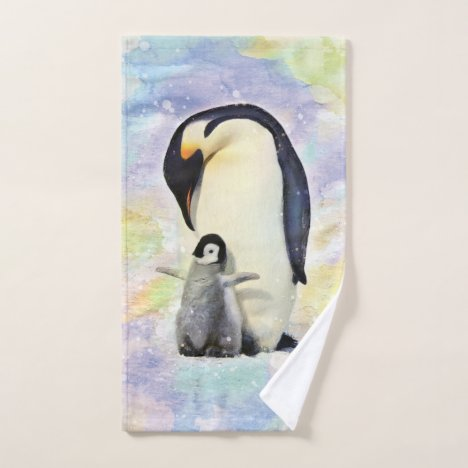 Emperor Penguin with Baby Watercolor Hand Towel