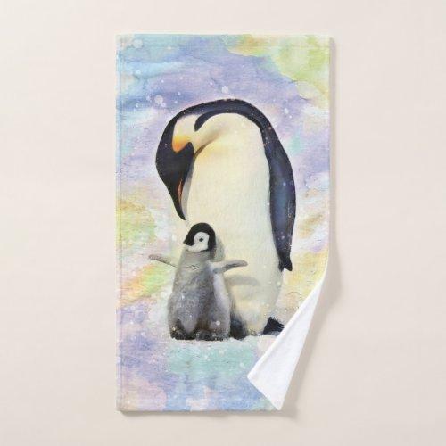 Emperor Penguin with Baby Watercolor Hand Towel