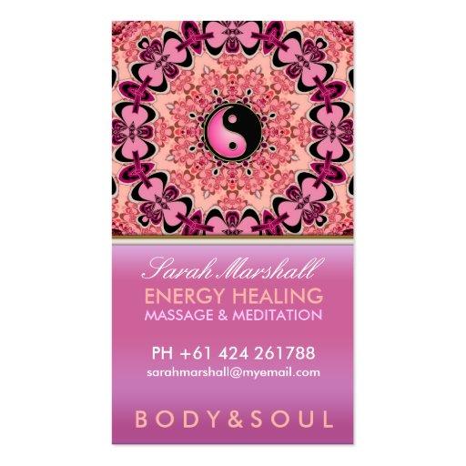 Energy Healing Holistic Peach Pink Business Card