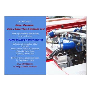 Engine Masculine Birthday Party Invitation