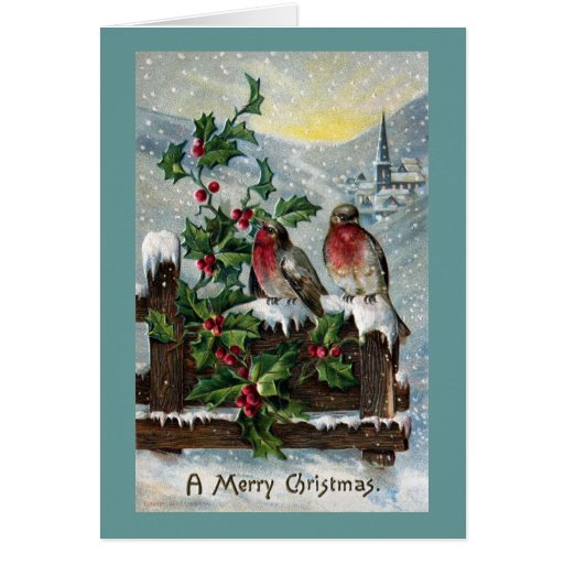 English Robins On A Fence Antique Christmas Card Zazzle