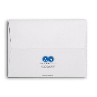 Envelope A7 Blue Monogram Return Address