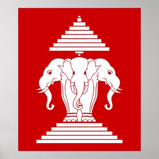 erawan three headed elephant lao laos flag print zazzle