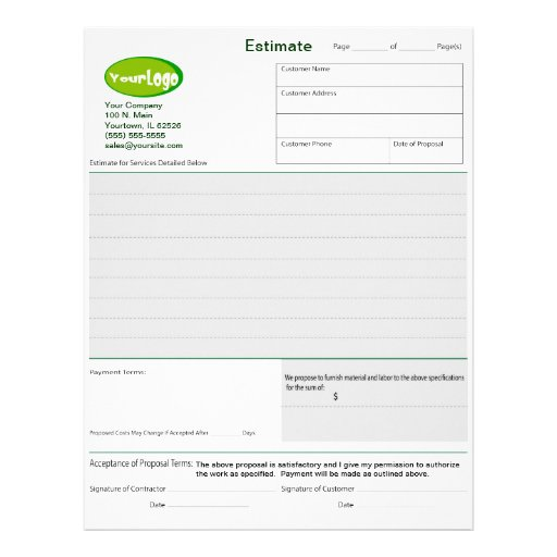 construction job estimate forms construction job estimate template – Job Estimate Template