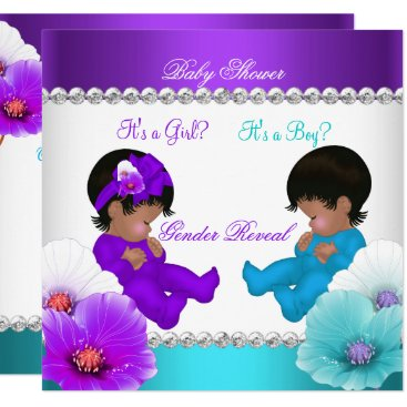 Ethnic Gender Reveal Baby Shower Purple Teal Blue Card
