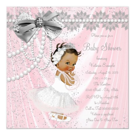 Ethnic Girl Pink Gray Satin Pearl Baby Shower Card Zazzle