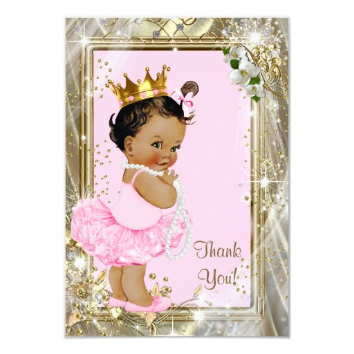 Ethnic Princess Pearls Flat Baby Shower Thank You Card