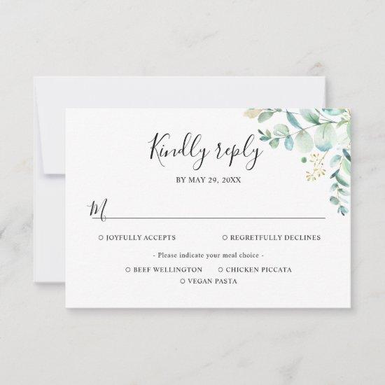 Eucalyptus Greenery Meal Options RSVP Card